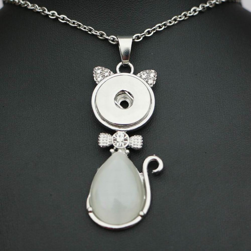 50cm Steel Chain 18mm Snap metal button lovely cat shaped pendant necklace with cat eye ginger snap jewerly for women 3colors