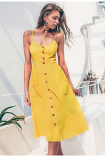 Yellow elegant button casual pocket midi dress