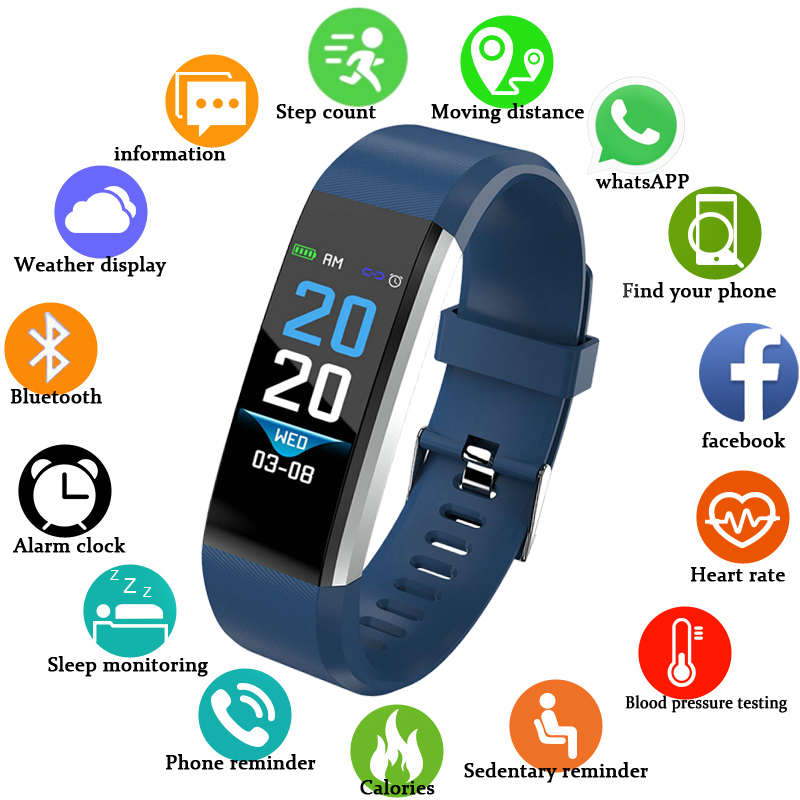 Bluetooth Intelligente Bracelet Coeur de La Pression Artérielle Moniteur de Fréquence Étanche Sport Intelligents Bracelet Fitness Tracker Santé Activité Bande