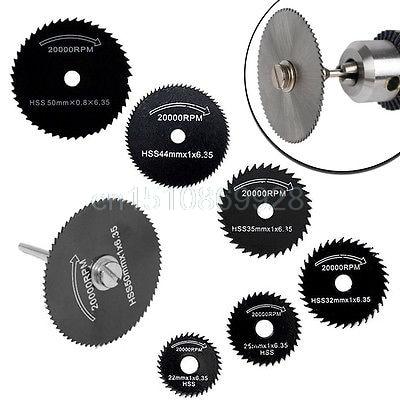 6Pcs HSS Saw Blades Cutting Discs Wheel + 1 Mandrel For Metal Dremel Rotary Tool