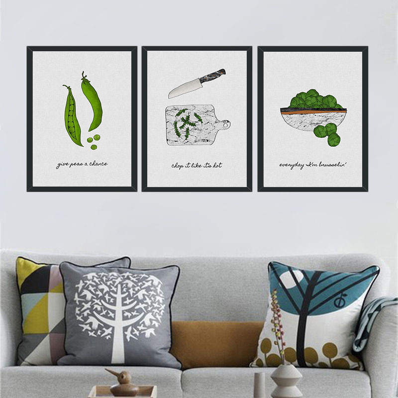 Green Plants Pea Pods Canvas Painting