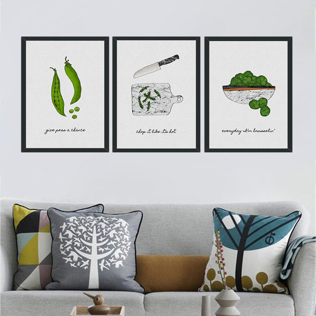 Cartoon Green Plants Pea Pods Canvas Painting Decoration Wall Art Pictures For Living Room Home