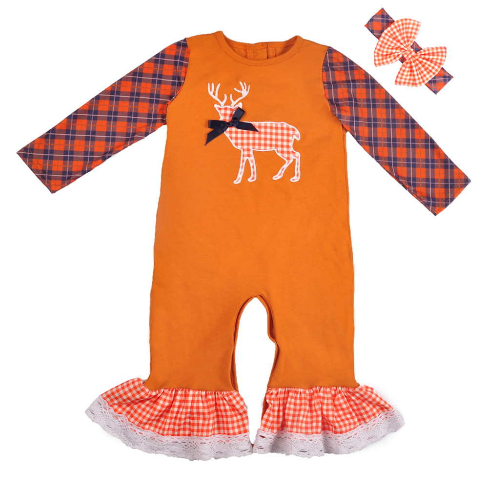 Wholesale Fall Boutique Baby Long Sleeve Christmas Boutique Baby Girls Clothes Ruffle   Romper   Match Boy   Romper   GPF810-318-HY