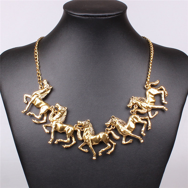 New Fashion Vintage Running Horse Pendant Necklaces Gold Alloy Necklace Choker Necklace Women Nickel Free Jewelry Duftgold