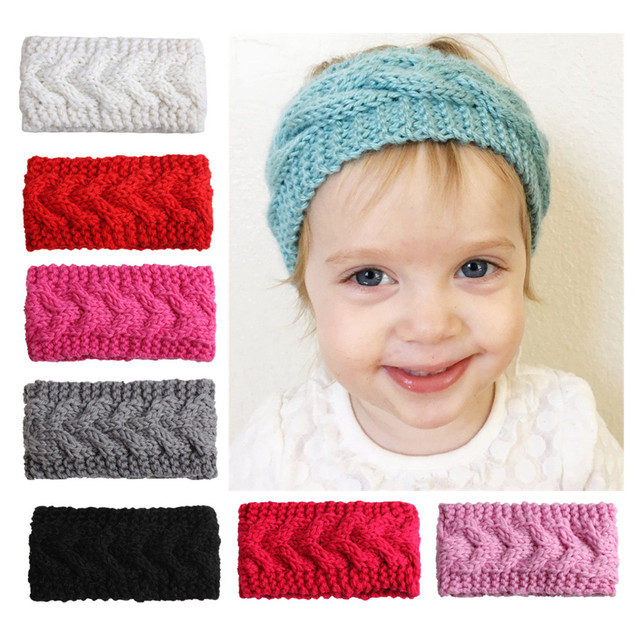2017 New Childrens Hair Band Super Cute Pattern Baby Knit Ear Baby
