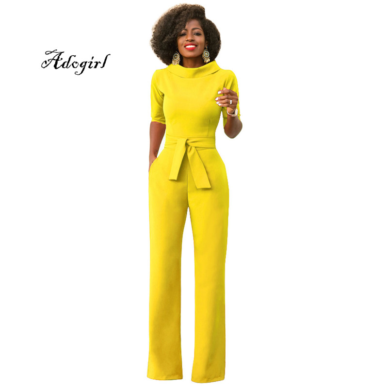 Adogirl New Arrival 2018 Spring Plus Sizes S-2XL Fashion Women Casual Slim Jumpsuits Stand Neckline Half Sleeves Pocket Rompers