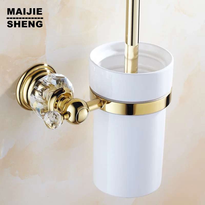 Luxury Golden crystal finish toilet brush holder with Ceramic cup/ household products bath decoration bathroom accessories