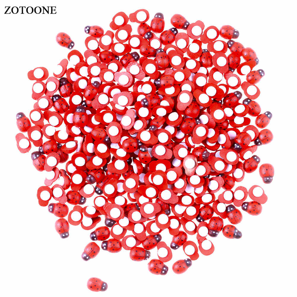 ZOTOONE 100pcs/Bag Wooden Ladybird Ladybug Sticker Children Kids Painted Adhesive Back DIY Craft Home Party Holiday Decoration E