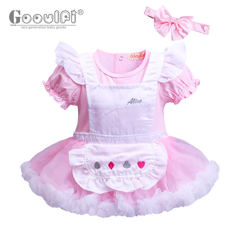 Gooulfi Baby Girl Summer Clothes Pink Cotton Cute Lolita Style O Neck Baby Dress Soild Knee Length Ball Gown Girls Romper Dress