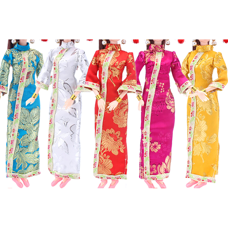 1PC Chinese Traditional Dress Cheongsam+Flag Head Headware Evening Dress Handmade Dress Clothes For Doll Accessories