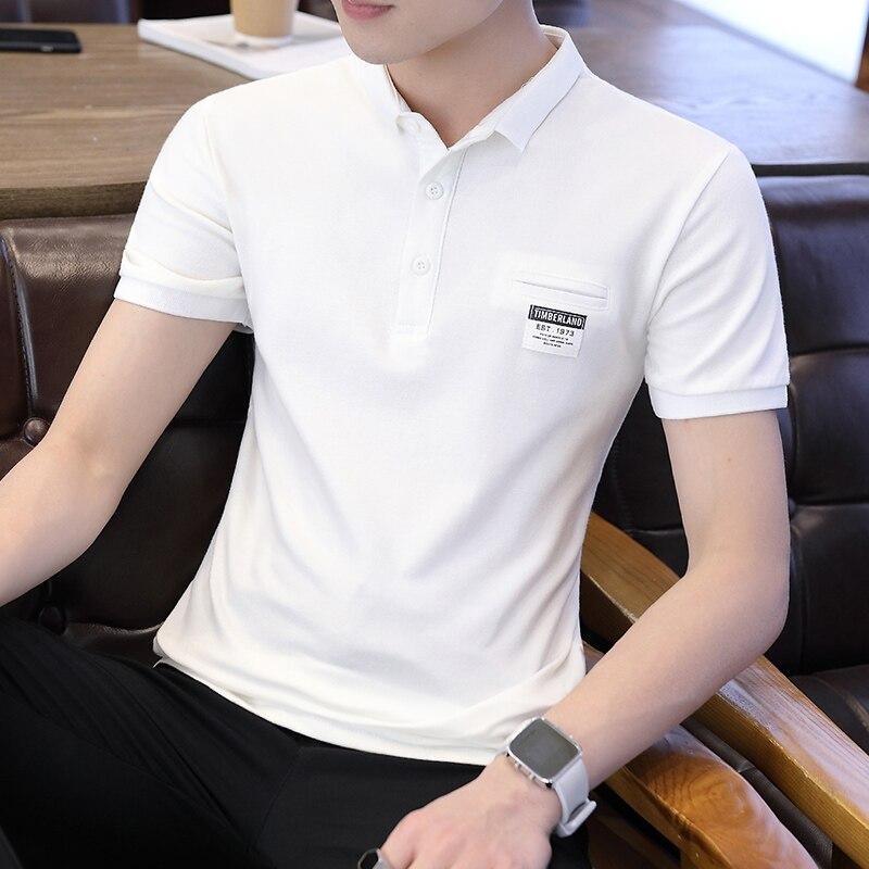 Mens Polo Shirt Summer Style Men Business Casual Solid Color Short Sleeve Polo Shirt Slim Cotton Polo Shirt Men Fake Pocket 11