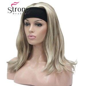 Image 3 - StrongBeauty Medium Blonde Highlights Natuurlijke Lichte Golven Heat Ok Synthetische HOOFDBAND Pruik KLEUR KEUZES