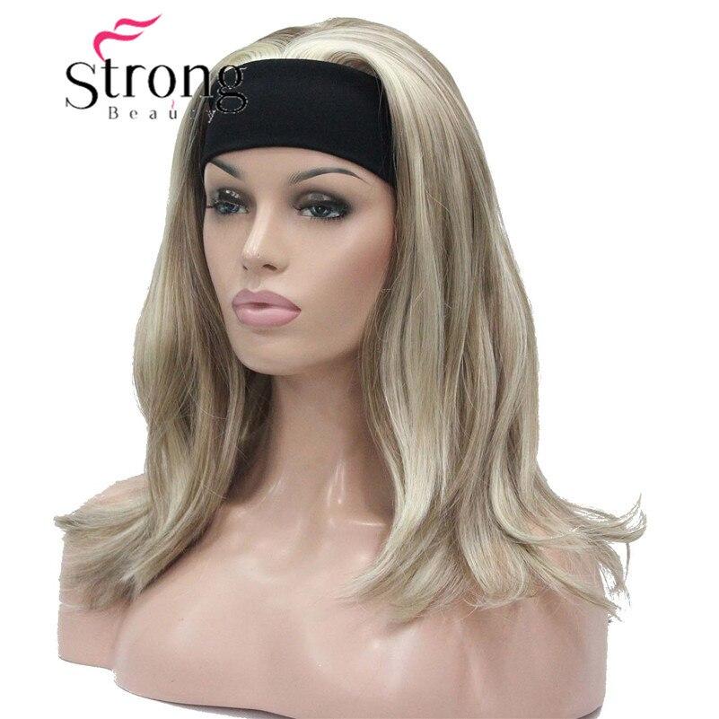 Strongbeauty Средний светлые моменты Природный небольшое волны Тепло ОК синтетическая повязка парик