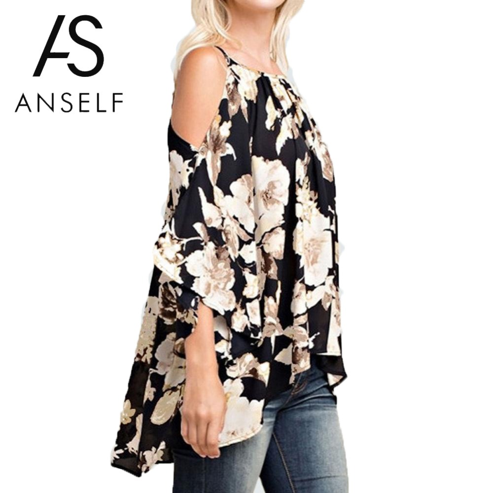 Boho Floral Print Off Shoulder Blouses Women Plus Size 3XL 4XL 5XL Shirts 34 Flare Sleeves Casual 2019 Summer Beach Tops female