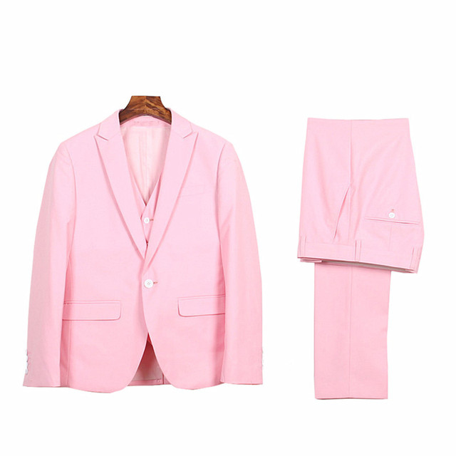 Mens Pink Casual Formal Dress Suits Party Festival Tuxedos 3 Pieces Blazer Jackets Wedding Groombride