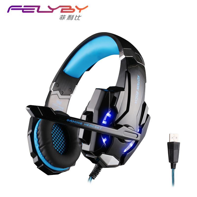 New 3Colour USB 7.1 surround sound headset gaming headphones vibration computer headband microphone headphone LED Glow headphone