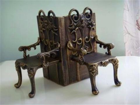 2 Cadeiras de Ferro Fundido Antigo Forma Suporte de Suporte de Livro - Decoração de casa - Foto 3