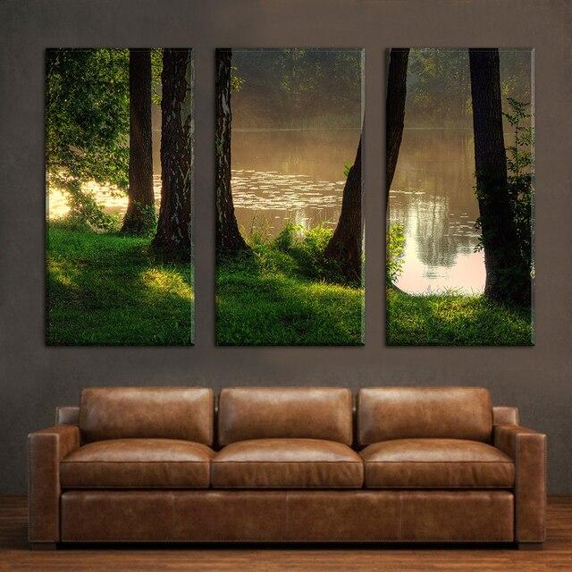 3 Панель озеро дерево Пейзаж принт Безрамное холст Книги по искусству картина маслом украшения дома Модульная картина для Гостиная стены