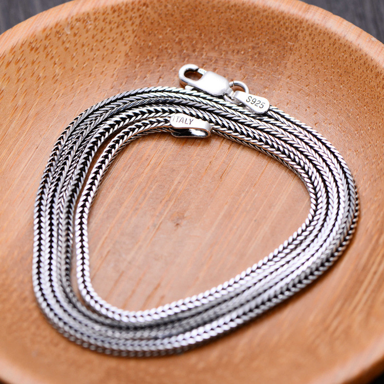 KJJEAXCMY fine jewelry 925 pure silver jewelry, 80cm necklace, fox tail chain, snake bone chain, male and female ornaments penda