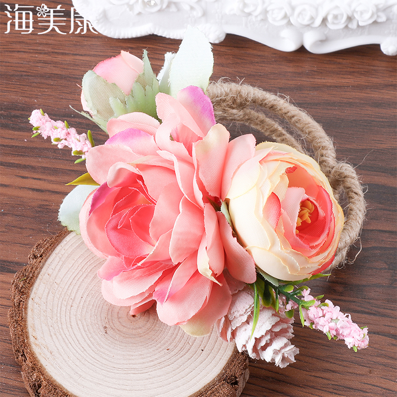 Haimeikang Artificial Wrist Corsage Flowers Wedding Bride  Woodland Woven Straw Cuff Bracelet Fake Rose Flower Party Accessories