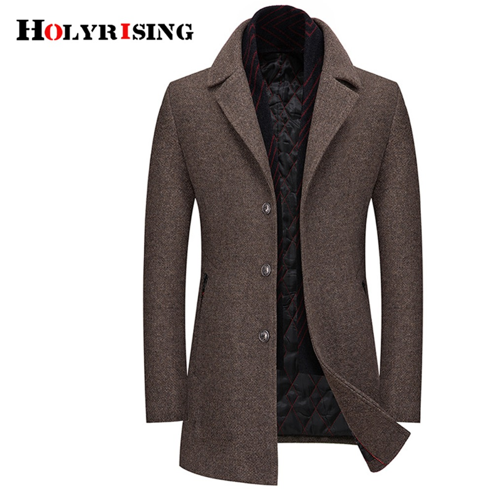 Holyrising Men Wool Coats Casual Abrigo Hombre Invierno Single Breasted Turn Collar Mens Overcoat Coat For Men 18616-5