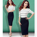 Black Bodycon Skirt 2016 Women European and American style Elastic Band High Waist Plus Size Midi Pencil Office Cotton Skirt
