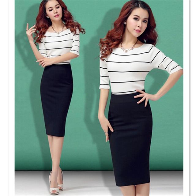 Black Bodycon Skirt 2016 Women European and American style Elastic Band High Waist Plus Size Midi Pencil Office Cotton Skirt