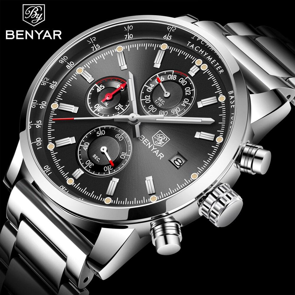 BENYAR Marke Mode Chronograph Sport Uhren Reloj Hombre Edelstahl Band Quarz Militär Uhr Relogio Masculino