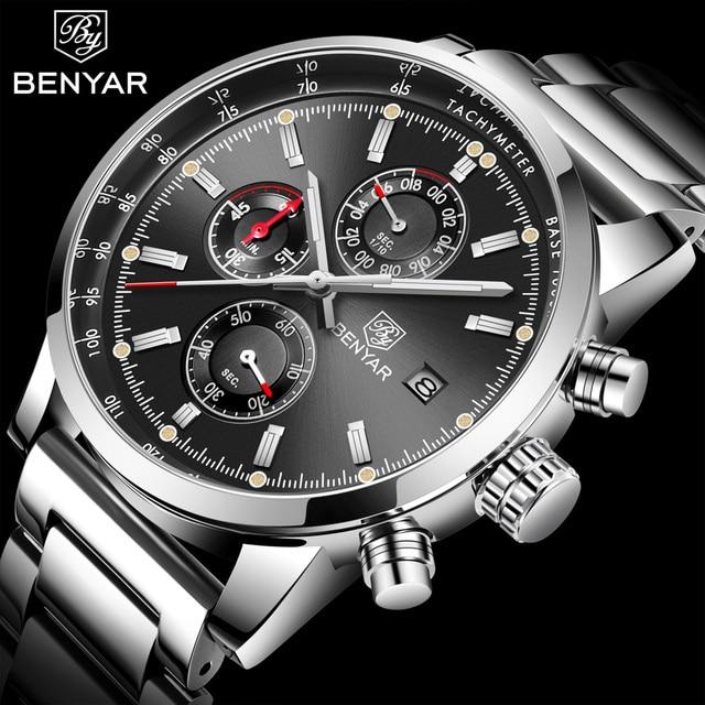 7f8b750aad7f BENYAR marca de moda deporte cronógrafo Reloj Hombre correa de acero  inoxidable de cuarzo Reloj militar