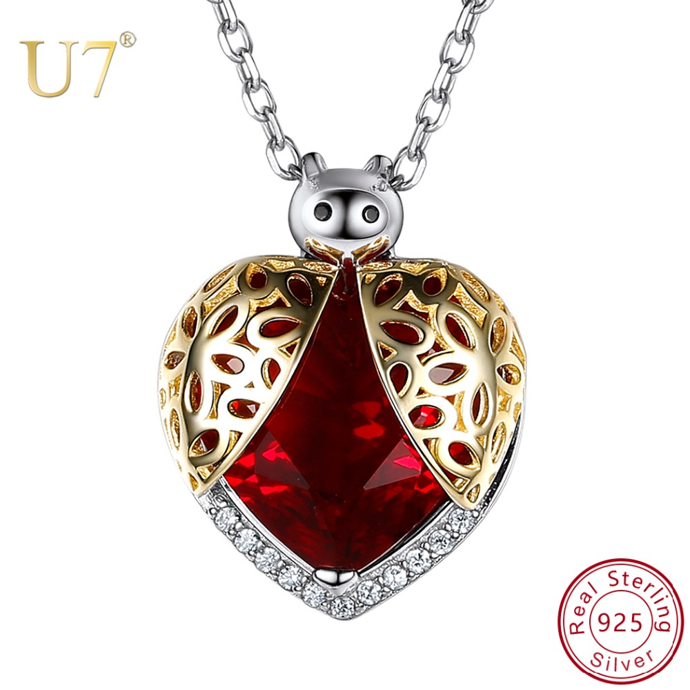 U7 925 Sterling Silver Beetle Pendant Necklace Women Jewelry Cubic Zirconia Heart Shape Hollow Pattern Ladybird Charms SC225 stylish hollow out heart shape pendant necklace with owl for women