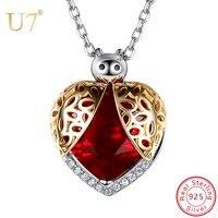 U7 925 Sterling Silver Beetle Pendant Necklace Women Jewelry Cubic Zirconia Heart Shape Hollow Pattern Ladybird Charms SC225