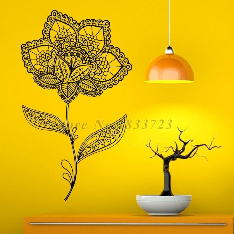 ᗜ LjഃMehndi Floral Pattern Wall Sticker Art Mandalas Lotus Home ...