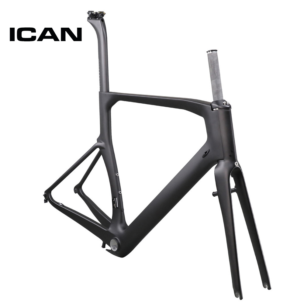 On Sale ICAN Carbon Aero Bike Frame Road Racing Bicycle Frames Size 45 48 50 52 54 56 58 60cm China Cheap Frameset A4