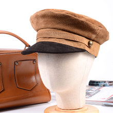 New Womens Mens Real Sude leather Beret Naval Hat Newsboy Militry Army/Navy Caps/Hats
