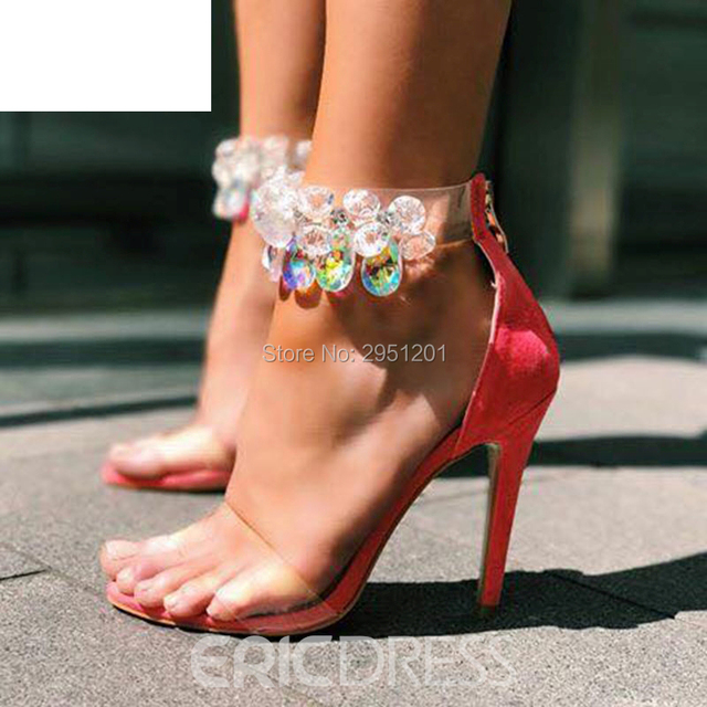 Latest Design Rhinestone PVC Transparent Stiletto Sandals Shoes Crystal Ankle Wrap Lady High Heels Shoes Sexy wedding Shoes