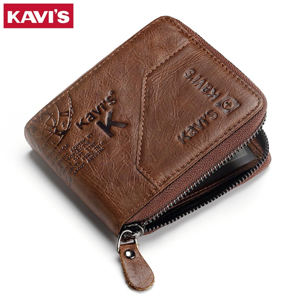 KAVIS Genuine Leather Wallet Men Coin Purse Male Cuzdan Small Walet Portomonee Rfid Zipper PORTFOLIO Magic Perse Card Holder Bag mingclan genuine leather wallet men coin purse male cuzdan small wallet portomonee portfolio slim mini purse wallet money bag