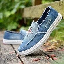 Fashion Denim Men Canvas Shoes Summer Star Sneakers Men Slip on Casual Breathable Loafers Chaussure Homme Zapatos De Hombre стоимость