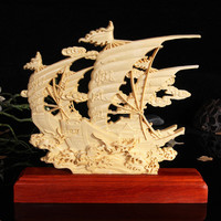 TNUKK Wood carved sailboat,desktop Decoration home decorations ornaments.