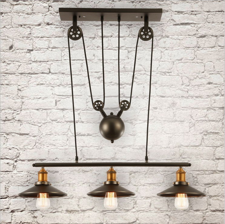 Loft vintage retro wrought iron black chandelier adjustable pulley loft vintage retro wrought iron black chandelier adjustable pulley industrial lamps e27 edison pendant lamp home light fixtures in chandeliers from lights aloadofball Image collections