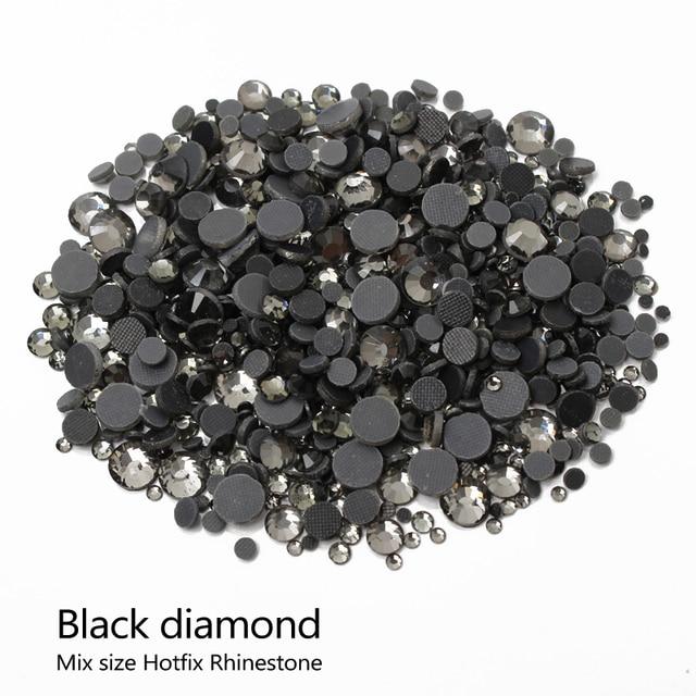 Hotfix Rhinestones Black diamond Stone Mixsize SS6 10 16 20 30 2000pcs lot  for DIY Rhinestone motif free shipping 8f70ac23d75c