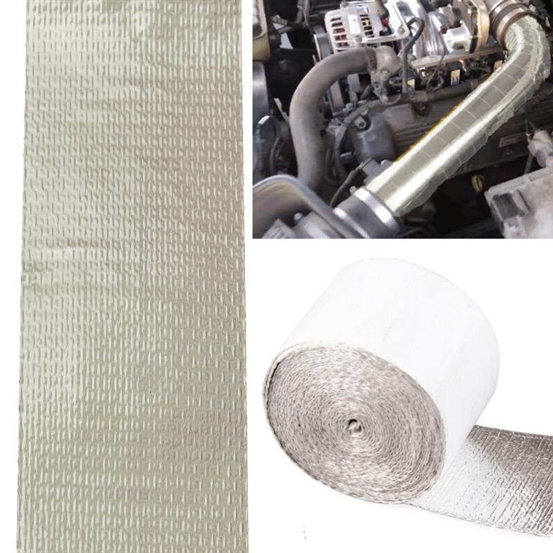 Car Thickened Heat Insulation Heat Shield Reflective Aluminum Foil Tape 5M*5cm 6pcs Engine Pipe Cover auto Temperature Isolated image