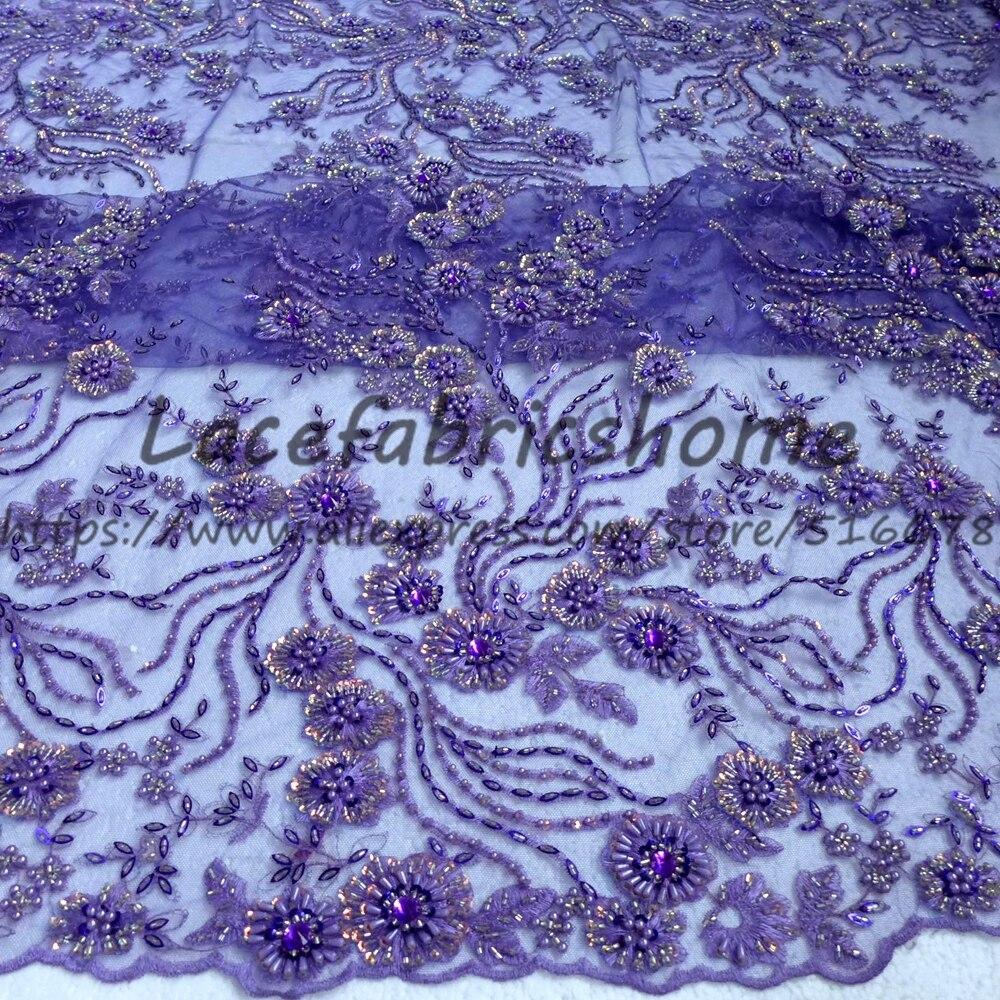 Una yarda de 130 cm púrpura/rojo con cuentas pesadas en tela de encaje de boda bordado de red tejido de estilo de boda-in encaje from Hogar y Mascotas    2