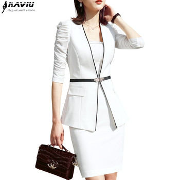 Business formal women white skirt suit summer fashion elegant half sleeve blazer and skirt office Interview plus size Work wear