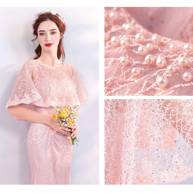 The Banquet Mermaid Evening Dress Vintage Pink Lace Satin Formal Prom Party Gowns Robe De New