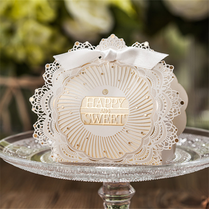 10pcs Bridal Shower Laser Cut Wedding Favor Boxes Wedding Candy