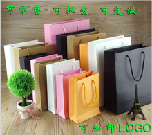 2016 wholesale 500pcs/lot customiz company logo 10 Sizes Black paper bag/shopping bag/clothes/jewellery bag printing