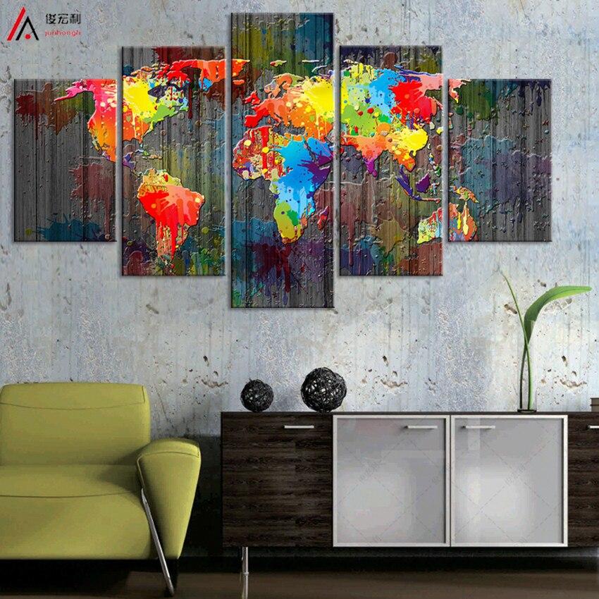 Pasaulio žemėlapis Drobės tapyba, sieninė modulinė nuotrauka, - Namų dekoras