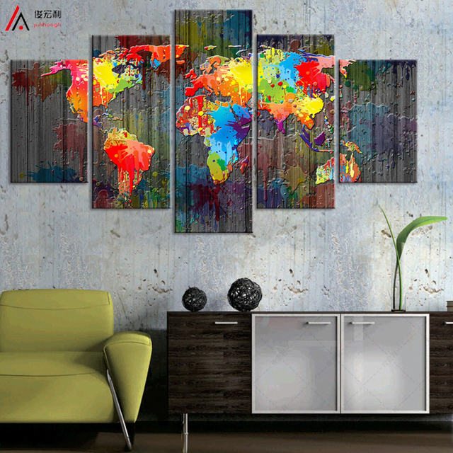 World map canvas painting wall modular picture living room classic world map canvas painting wall modular picture living room classic european type watercolor decoration print for gumiabroncs Image collections