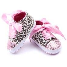 Уокер леопарда первые подошвой блесток цветочные мягкой малышей девочек хлопок обувь