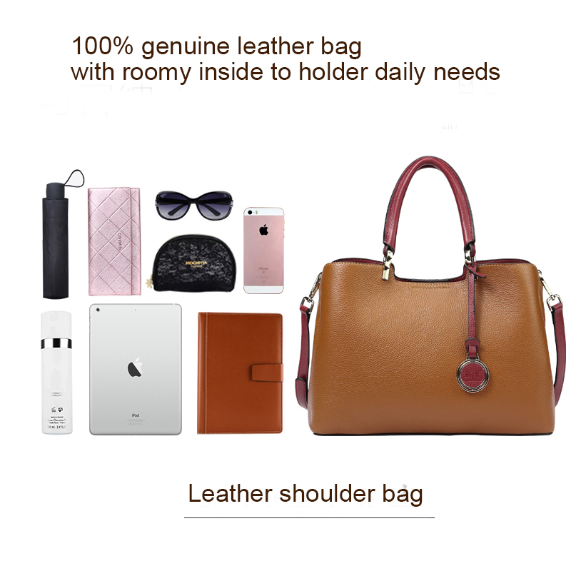 Brown Genuine Cow Leather Handbags for Women Qiwang Luxury Brand Shoulder Bag Fashion Top handle Tote Bag 2019 Ladies Hand Bags-in Top-Handle Bags from Luggage & Bags    3